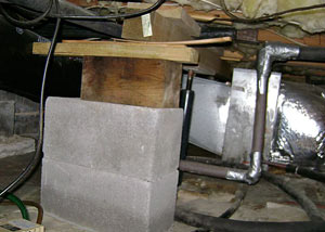 a poorly designed crawl space support system installed in a Great Neck home