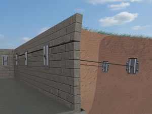 A graphic illustration of a foundation wall system installed in Manhasset