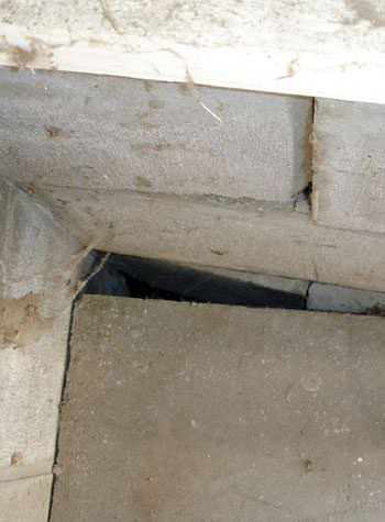 inward rotation of a foundation wall damaged by street creep in a garage in Central Islip