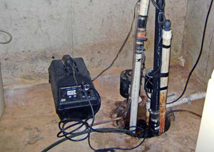 Pedestal sump pump system installed in a home in Great Neck