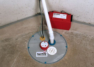 A sump pump system with a battery backup system installed in Central Islip