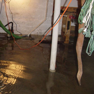 Foundation flooding in a Levittown,Long Island home
