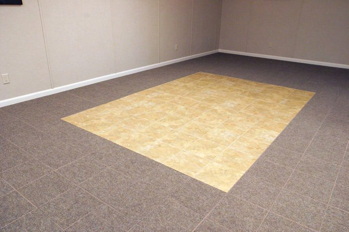 Tiled And Carpeted Basement Flooring Installed In A Old Westbury Home Interlocking Floor