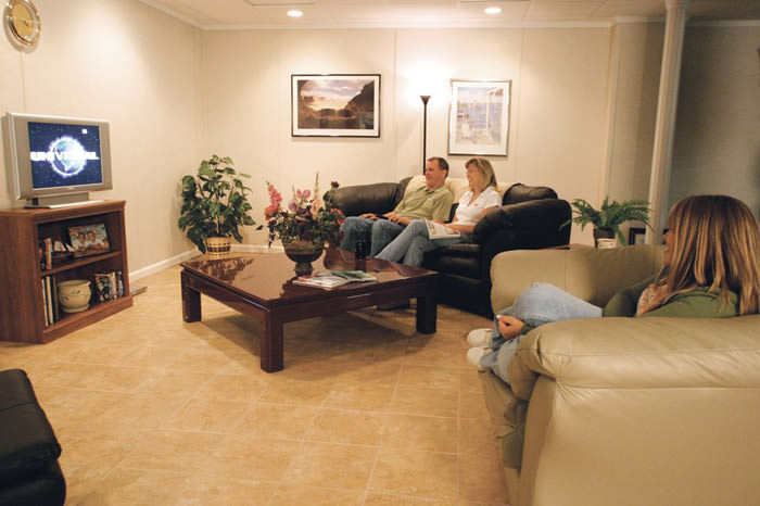 A Finished Basement With Tiled Flooring In Westbury, Long Island ...